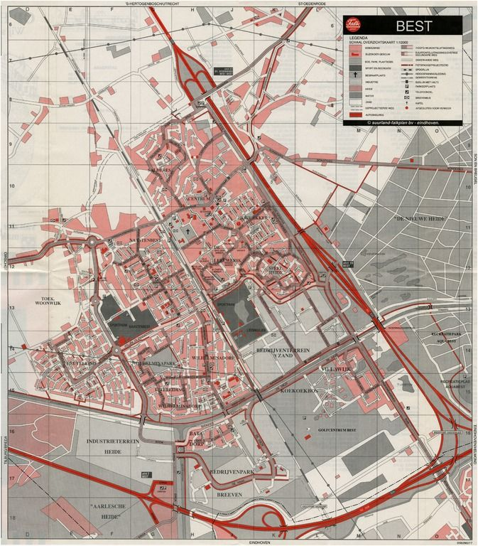 Plattegrond van de gemeente Best met de wijk Heuveleind.1996