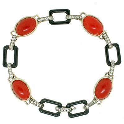 Art Deco 14kt Oxblood Coral, Onyx & Diamond Bracelet  Jewellery Box ...