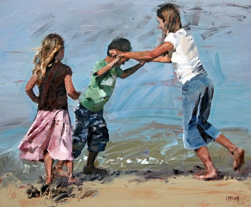 """""""And at the end of the day, your feet should be dirty, your hair messy, and your eyes sparkling."""" Unknown author. 'Playfight' painting by Claire McCall"""