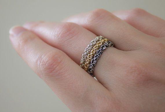 Zilveren Byzantijnse ketting Ring Chainmaille van Femailler op Etsy