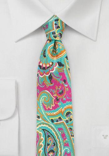 Herrenkrawatte farbenfrohes Paisley-Motiv dunkelrosa