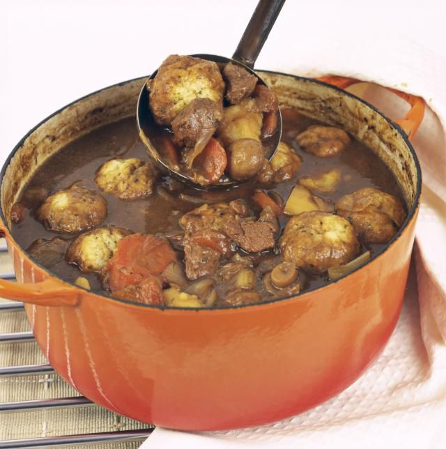 Authentic Irish recipe for beef and Guinness stew with thyme dumplings.