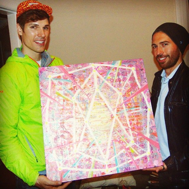 Presenting my painting to @nextin after completing the concept we put together called Heart Chakra Meditation Explosion. What an awesome project! #Chakra #art #SacredGeometry #Painting #SFarts #MissionArts #AOK #abstract #geometry #asymmerrical #colorful
