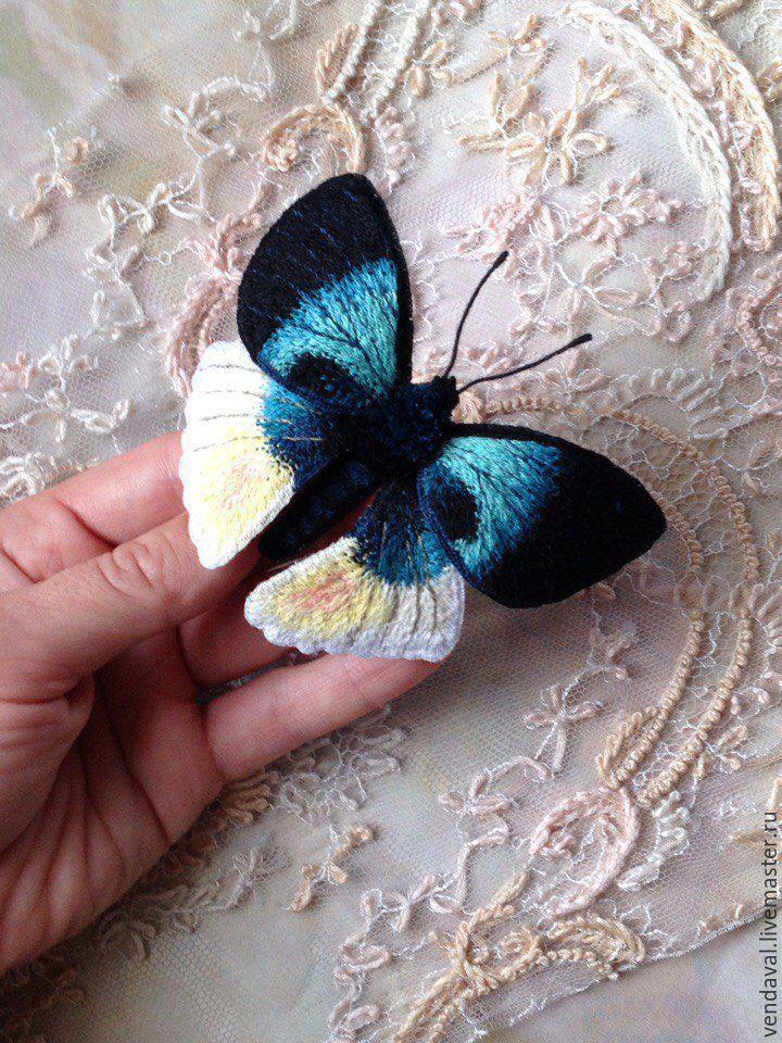 Купить Брошь бабочка Альцидес Аврора вышитая объемная - бирюзовый, черный, бабочка, брошь бабочка
