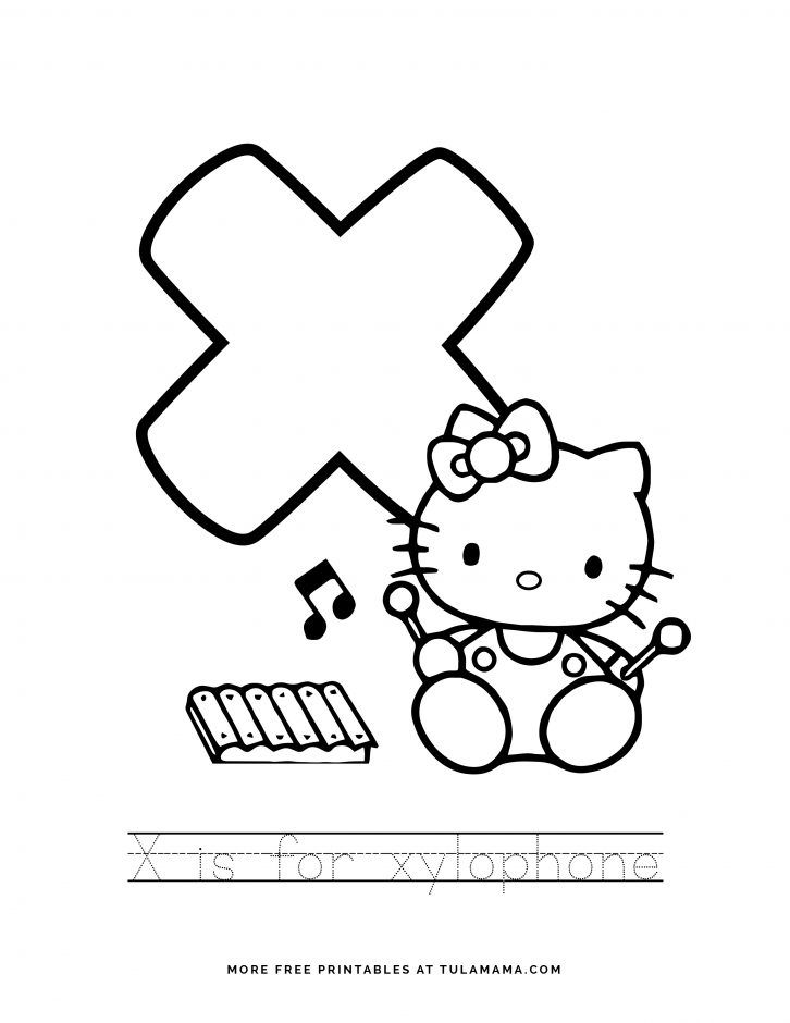 Free Printable Hello Kitty Tracing Letters Worksheets Hello Kitty Printables Hello Kitty Coloring Hello Kitty Colouring Pages