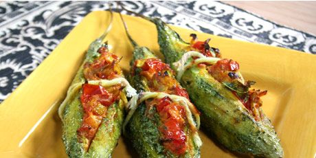 Stuffed and Baked Bitter Melon Stuffed with Spiced Tomatoes | Karela | Bitter Gourd