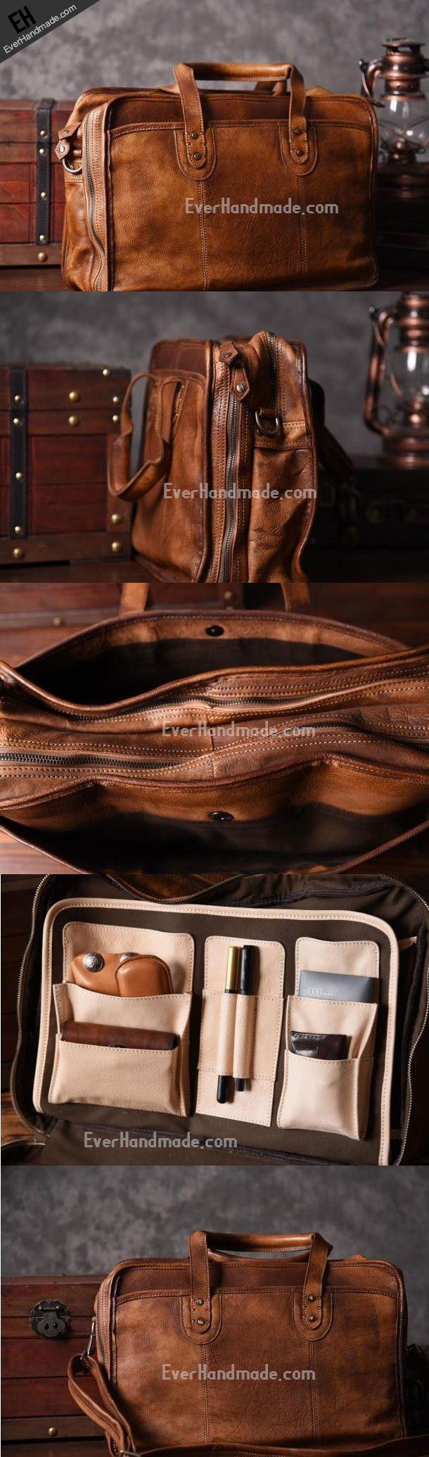 Handmade leather men Briefcase messenger vintage weekend bag