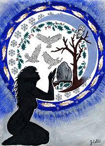 Yule The Stillness Goddess A4 Print by Julie Collet