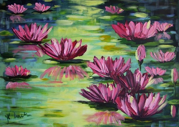 Water Lilies Impression IMPASTO Original Oil Painting flowers lake Europe Artist #ImpressionismIMPASTOpaletteknifetextured