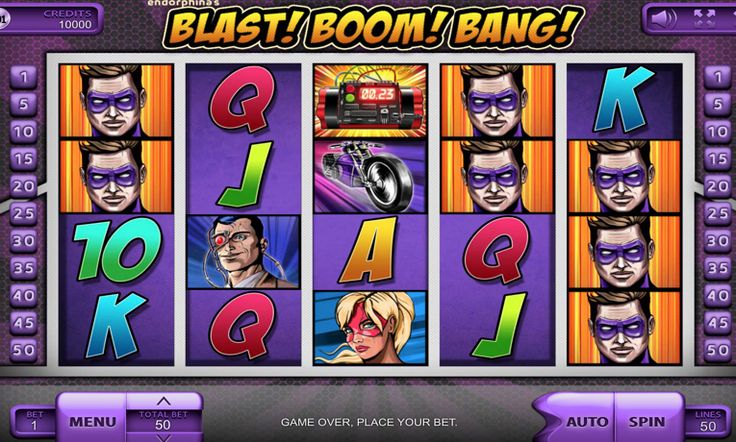 The theme of this ‪#‎Endorphina‬ game is ‪#‎Heroes‬, like Batman, who use their…  Play NOW: http://zzzslots.com/free-slots/blast-boom-bang/