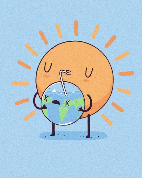 Thirsty sun Funny Vector T-Shirt illustration