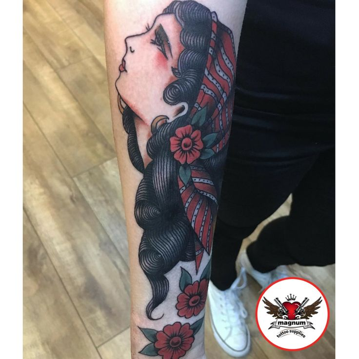Lady piece done by Mike Davies using #magnumtattoosupplies