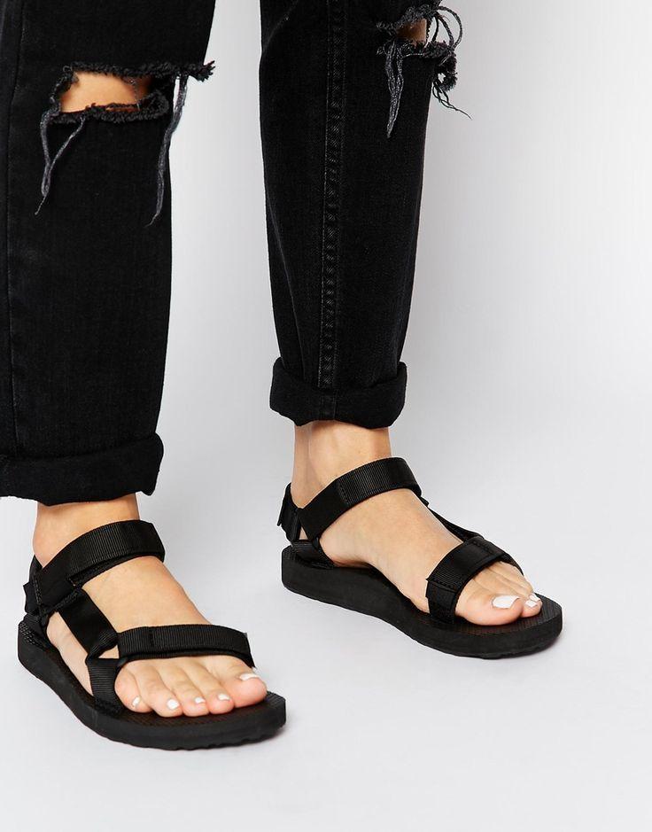 black leather teva sandals
