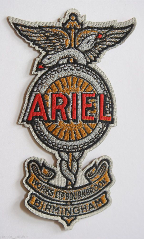 Ariel Motorcycle Woven Patch Iron on Bikers Vintage Classic UK | eBay
