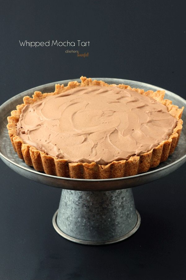 Whipped Mocha Mousse Tart with soft caramel and chocolate curls. from #dietersdownfall.com