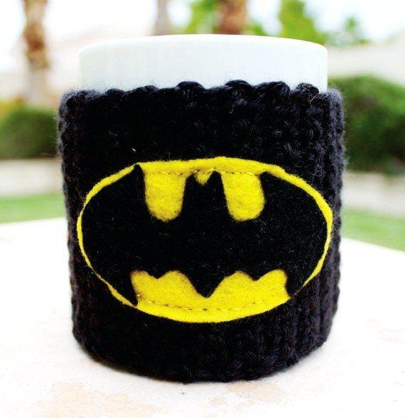 Batman Inspired Coffee Mug Tea Cup Cozy: Dark Knight Superhero Cartoon Animation Crochet Knit Sleeve