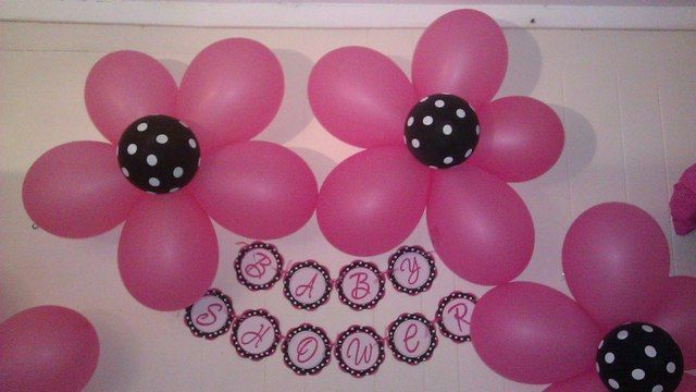 "Photo 12 of 12: black and white polka dots and damask with fuschia / hot pink accents / Baby Shower/Sip & See ""Yamell's baby shower"" 