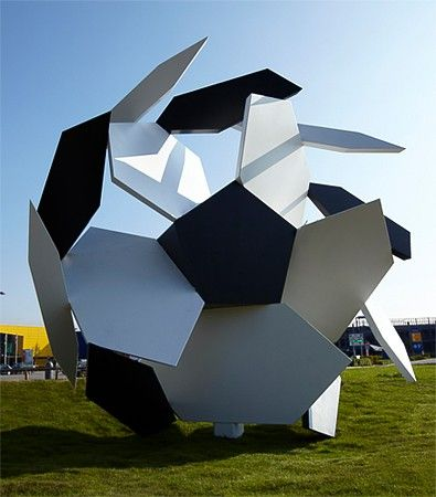 Set in the shadow of Wembly Stadium at the IKEA Store, this four meters high landmark sculpture , Angled Ball By James Hopkins, celebrates t...