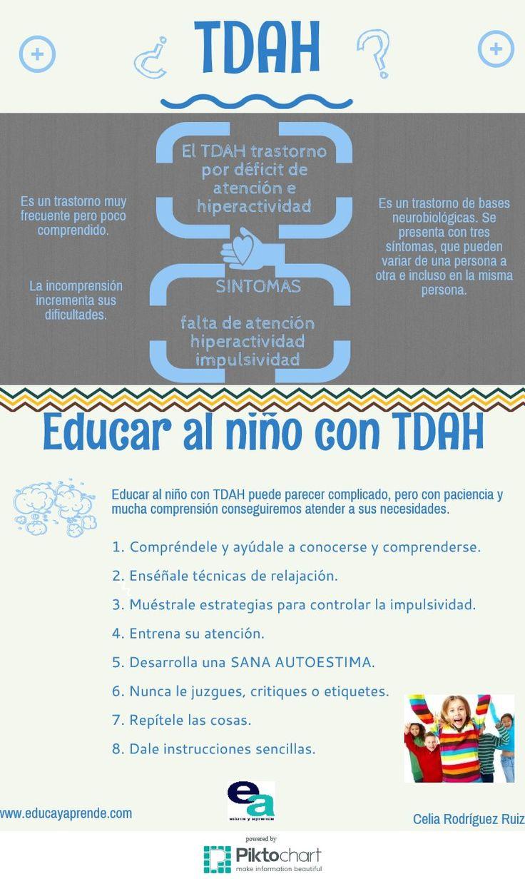 Educar a niños con TADH: Se debe entrenar su atención, nunca juzgarlo o criticarlo, desarrollar una sana autoestima y darle instrucciones sencillas. Aprende muchos más consejos de cómo tratar y mejorar la educación de los niños con TADH en nuestro articulo http://tugimnasiacerebral.com/gimnasia-cerebral-para-niños/trastorno-por-deficit-de-atencion-en-niños-con-sin-hiperactividad-sintomas-tratamiento-tda-tdah #Gimnasia #Cerebral #infografia #TADH #Hiperactividad #Niños #Aula