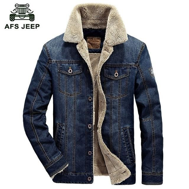 New Men's Denim Jacket with Fur Lining