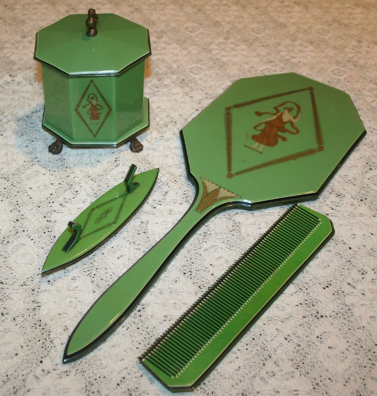 Green and Gold 1930s Grecian ART DECO Lucite Mirror  Vanity Dresser Set