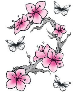Fladderen skin art mode tijdelijke tattoo met speelse vlinders en roze bloemetjes.