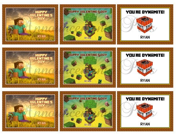 MINECRAFT Valentineu0027s Day Trading Cards By AnnouncementsPlus, $6.00