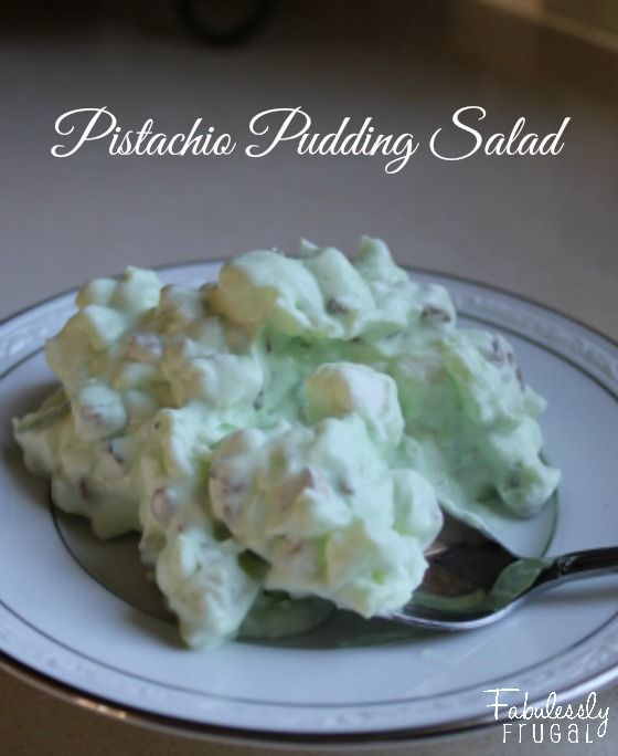 Pistachio Pudding Salad..also known as watergate salad. With only 5 ingredients you can make this salad in less than 7 minutes. Traditional side dish for Thanksgiving.
