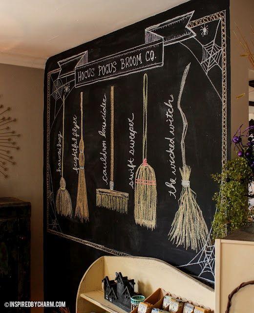 DIY Chalkboard Drawing - Hocus Pocus Broom Co. via Inspired by Charm