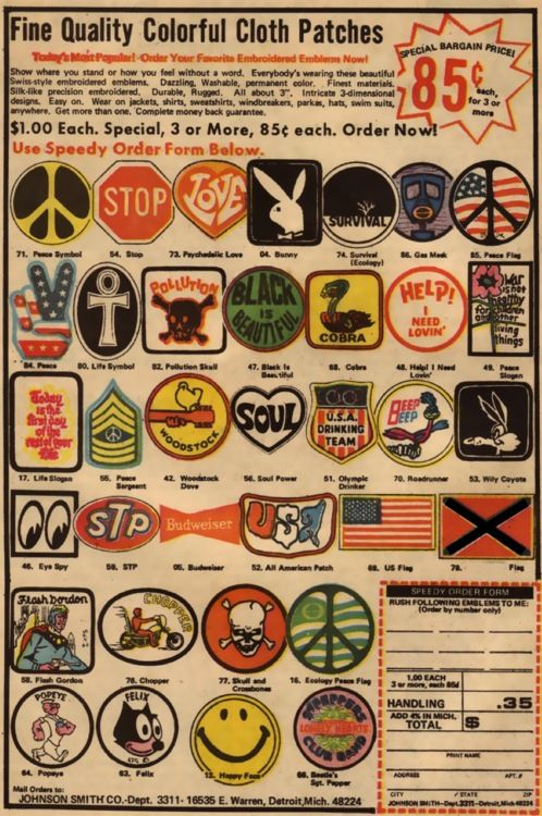 70s patches ... the more, the better !  we put these on our jeans, jackets, overalls and bags