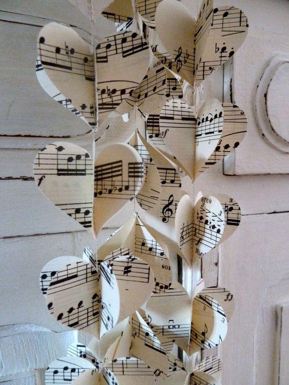 READY TO SHIP: Paper Garland Music Hearts Garland by LaMiaCasa