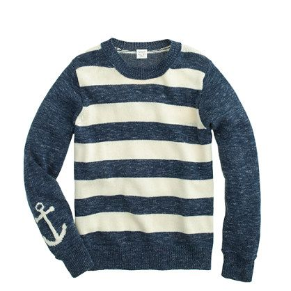 Steph!  Totes Ma Goats getting this for Dean!!!!! J.Crew - Boys' anchor-sleeve stripe sweater