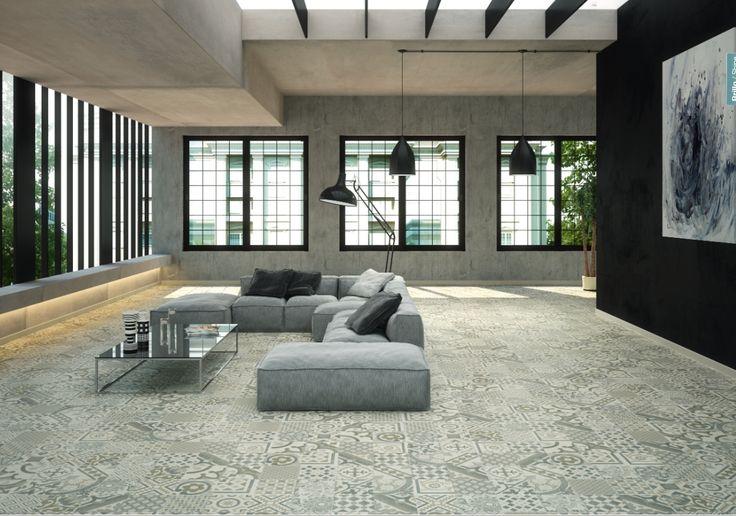 Carrelage Gris imitation décor carreau ciment 45x45 cm Riviera Pearl