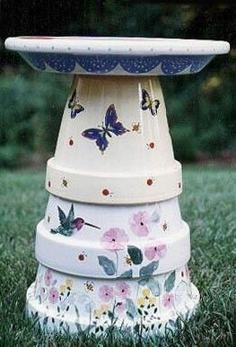 hand painted terracotta pot bird bath!