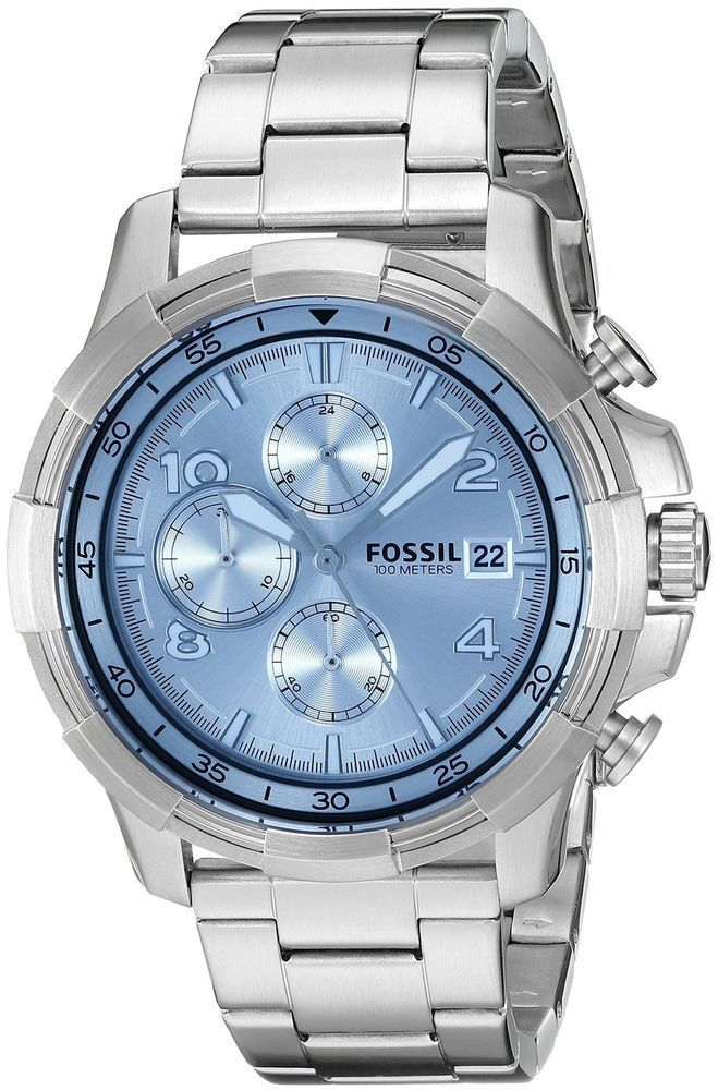 Fossil Dean Chrono Blue Dial Men's Watch FS5155 #Fossil - mens watches online, online mens watches, mens silver watches