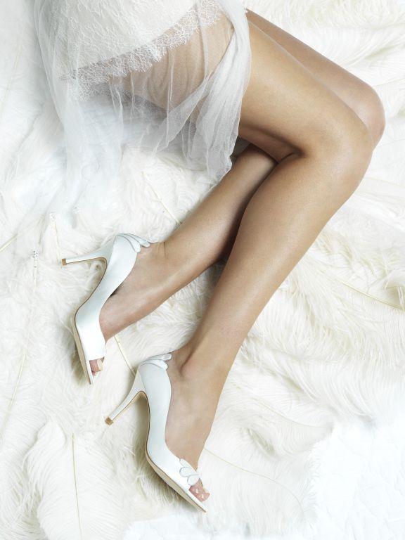 Benjamin Adams 'Carolina' Ivory Satin & Silver Leather Designer Wedding Shoes laceandfavour.com