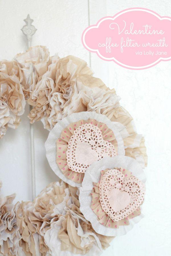 Valentine's Day Valentine :: Valentine Coffee Filter Wreath