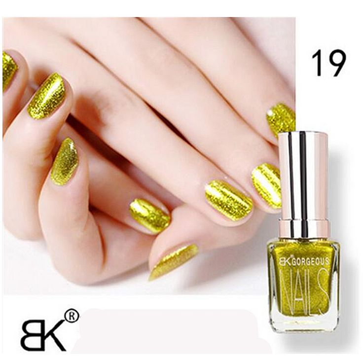 1pcs Bk Metallic Matte Gel Nail Polish Lasting Shine 15ML Nail Art Glitter holographic 24 colors silver gold cheap Nail Polish