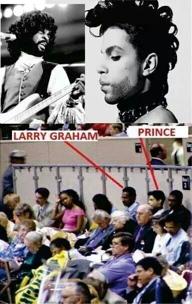 Larry Graham & Prince at a meeting.