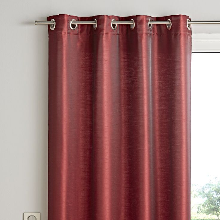 Rideau prêt à poser GAZIBO, col rouge, dim 130 x 350 cm - Rideaux et voilages Prêt à poser -