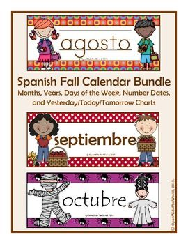 """SPANISH calendar pocket chart FALL bundle: August, September, and October. SAVE $1 by purchasing as a bundle!  Calendar themes include: """"Back to School,"""" """"Apple Picking,""""  and """"Halloween."""" (Canadian version also available, with """"Thanksgiving"""" theme for October.) ($)"""