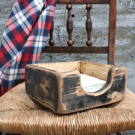 Farmhouse Napkin Holder Primitive Rustic Decor Country Decor Distressed Painted Wood