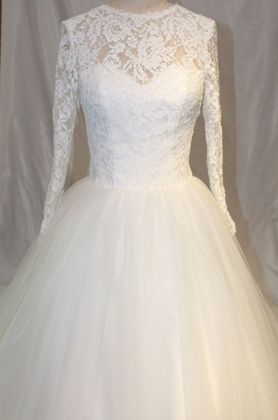 Romantic Tulle Long Sleeves Wedding Dress Lace Bridal Dress -- Reserved for Danielle on Etsy, $389.00
