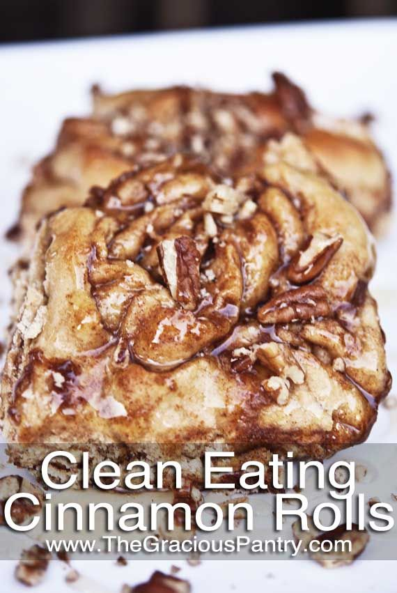 Clean Eating Cinnamon Rolls - recipe doesn't use milk, butter or sugar, but uses honey, almond milk and olive oil as healthier substitutes.  Don't know if you can use regular whole wheat flour instead of the whole wheat pastry flour in the recipe. All in all though, it looks like a healthier (or at least more natural) recipe than your normal cinnamon rolls.