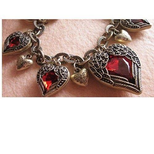 Stunning angel bracelet - Antieke Armband met engel vleugels en kristal hart - Vault24