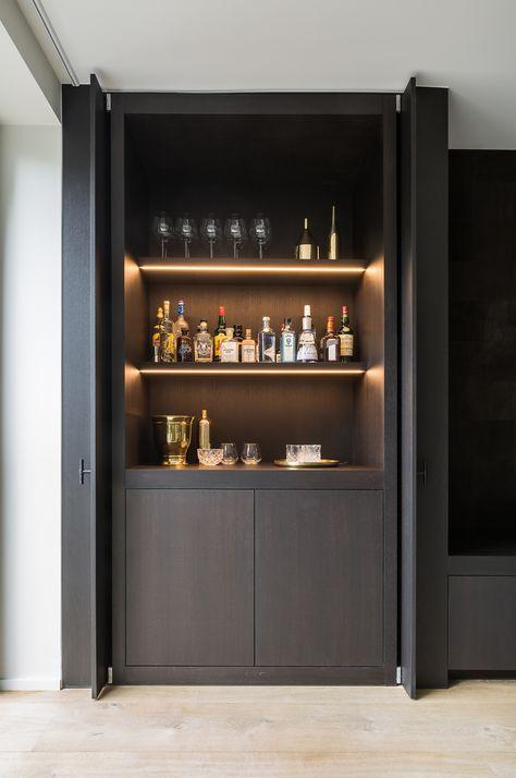 Pivot Sliding Doors Conceal The Bar Bar Maison Moderne Meuble Bar Mobilier De Bar