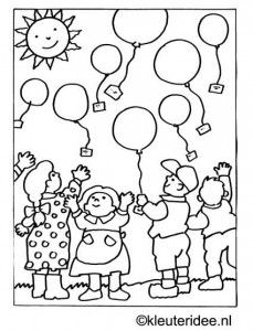 Kinderboekenweek 2014 Feest / In de wolken kleurplaat ballonnenwedstrijd, kleuteridee.nl .