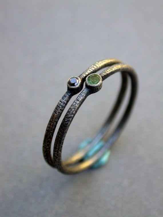 green tourmaline black diamond wedding ring por jaimejofisher,