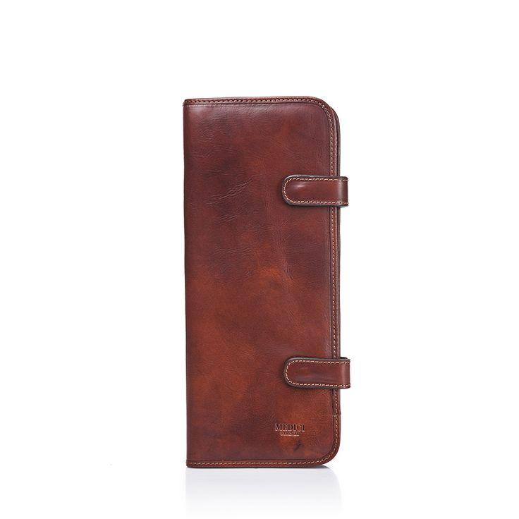 Borsa porta cravatte in pelle marrone chiaro lucido - i-medici-firenze