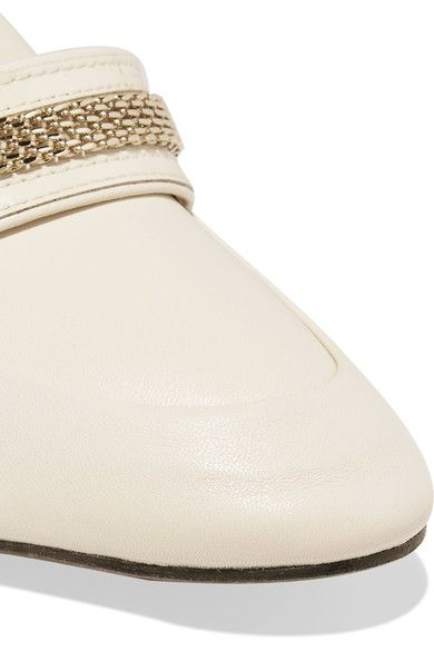 Lanvin - Chain-trimmed Leather Loafers - Neutral - IT40.5